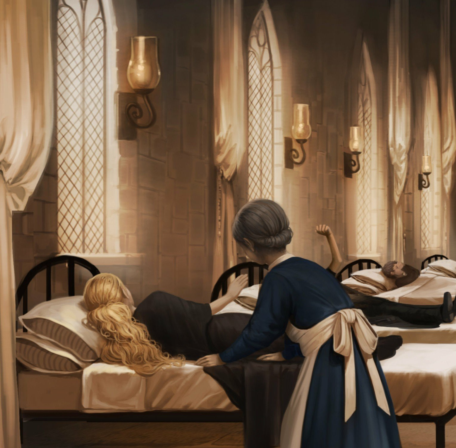 Hermione falls foul of the Basilisk: 3 students lay in the beds in the Nursing wing, the closest one is a blonde girl with her backk to us being tended to by the nurse; the middle one is unseen apart from their legs and raised hand; the last is a male with his right hand over his face