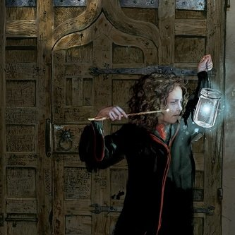 Hermione in her robes pointing her wand at a lamp