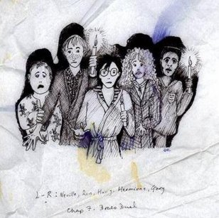 A sketch of the main trio with Dean and presumably Neville moving through the dark with candles; Hermione is depicted as in the previous drawing