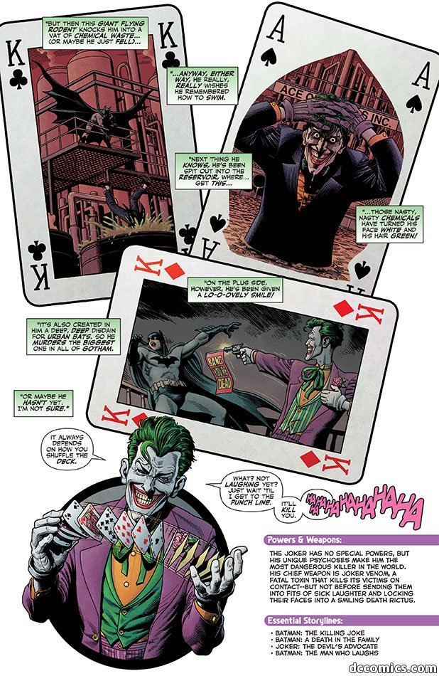 "A background of three playing cards marked with a K. One shows Batman standing above as someone falls into a vat of green liquid. One shows the Joker holding his hair while waist-deep in liquid. One shows the Joker shooting a gun at Batman that says ""Bang! You're dead"" as Batman falls. Speech boxes say ""But then this giant flying rodent knocks him into a vat of chemical waste... (or maybe he just fell)..."" ""...anyway, either way, he really, really wishes he remembered how to swim."" ""Next thing he knows, he's been spit out into the reservoir, where... get this..."" ""Those nasty, nasty chemicals have turned his face white and his hair green!"" ""On the plus side, however, he's been given a lo-o-ovely smile!"" ""It's also created in him a deep, deep disdain for urban bats, so he murders the biggest one in all of Gotham."" ""Or maybe he hasn't yet. I'm not sure."" Then is a picture of the Joker shuffling a bunch of cards and saying ""It always depends on how you shuffle deck."" ""What, not laughing yet? Just wait 'til I get to the punch line. It'll kill you. HAHAHAHAHAHAHA"""