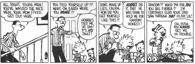 Comic with Calvin tied to a chair by Hobbes