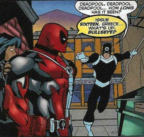 Deadpool acknowledges he's in a comic